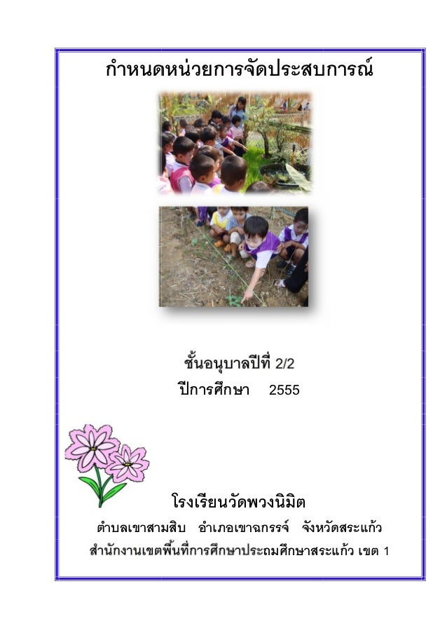 กําหนดหน่ วยการจัดประสบการณ์                         2/2            ปี การศึกษา 2555           โรงเรี ยนวัดพวงนิมิตตําบลเข...