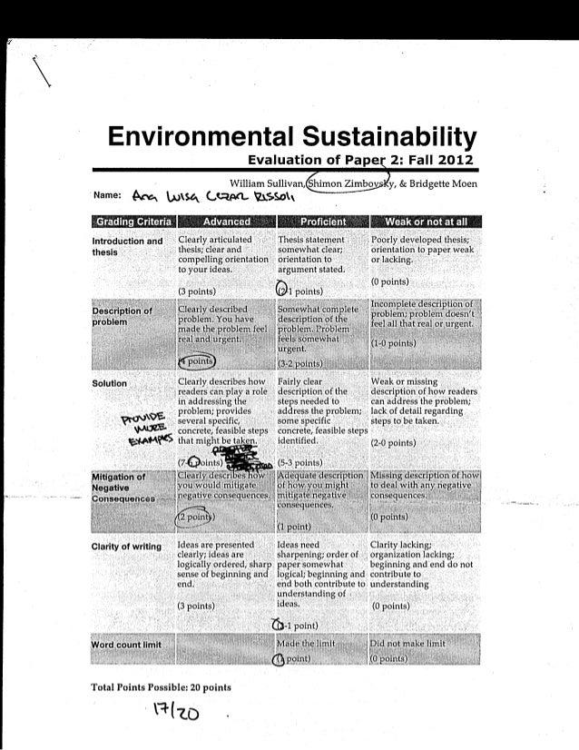 En vi ron mental Sustai nabi Iity                                                 Evaluation of Pape 2: Fall 2012         ...