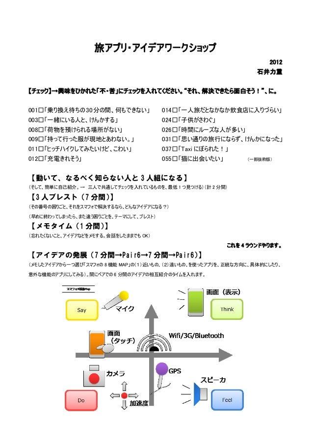 旅アプリ・アイデアワークショップ                                                                    2012                                  ...