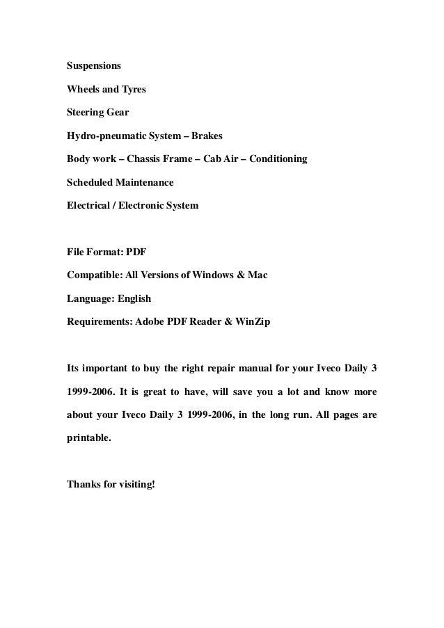 iveco daily 3 1999-2006 service repair workshop manual download (1999…, Wiring diagram