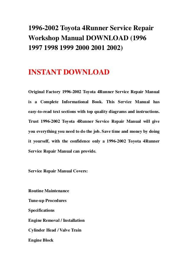 1996 2002 toyota 4runner service repair workshop manual 199 1996 2002 toyota 4runner service repairworkshop manual 19961997 1998 1999 2000 2001 2002