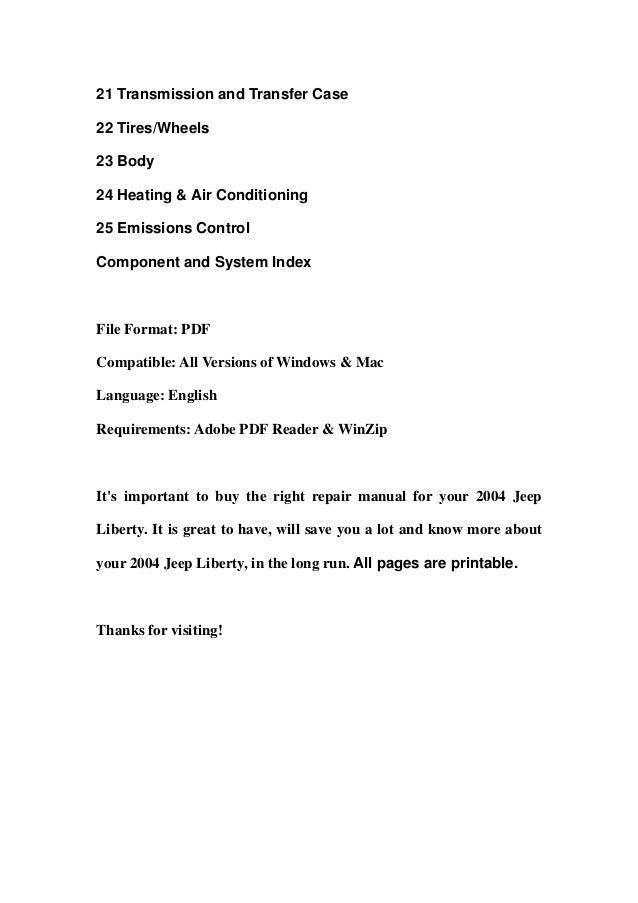 2004 jeep liberty repair manual pdf