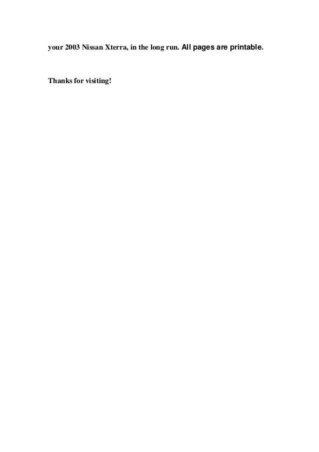 nissan xterra 2003 service manual