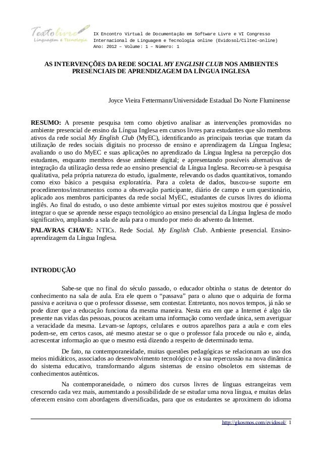 IX Encontro Virtual de Documentação em Software Livre e VI Congresso                        Internacional de Linguagem e T...