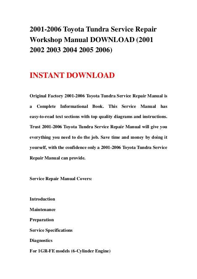 2001-2006 Toyota Tundra Service Repair Workshop Manual DOWNLOAD (2001…