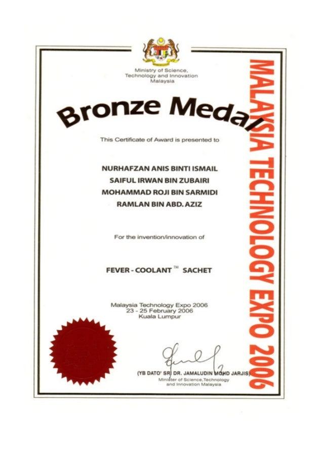 Fever-Coolant Sachet Award Winning Invention (MTE Invention 2006)