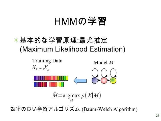 27 HMMの学習 基本的な学習原理:最尤推定 (Maximum Likelihood Estimation) Training Data X1,...,XK Model M ̂M=argmax M p( X∣M) 効率の良い学習アルゴリズム ...