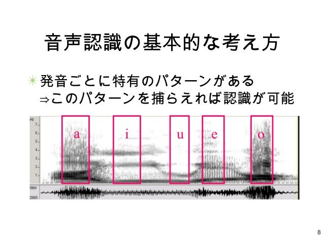 8 音声認識の基本的な考え方 発音ごとに特有のパターンがある ⇒このパターンを捕らえれば認識が可能 a i u e o