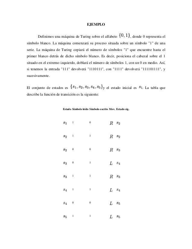 EJEMPLO Definimos una máquina de Turing sobre el alfabeto , donde 0 representa el símbolo blanco. La máquina comenzará su ...