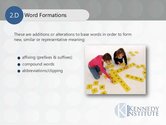 These are additions or alterations to base words in order to form new, similar or representative meaning: affixing (prefix...