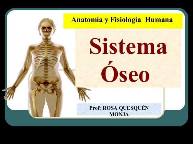 Anatomía y Fisiología Humana Sistema Óseo Prof: ROSA QUESQUÉN MONJA