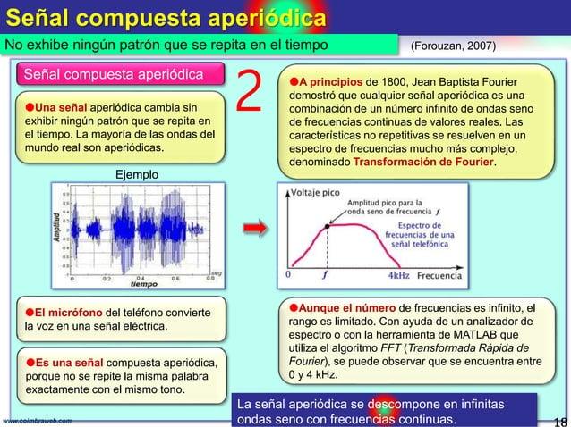 Señal compuesta aperiódica 18www.coimbraweb.com No exhibe ningún patrón que se repita en el tiempo (Forouzan, 2007) Señal ...