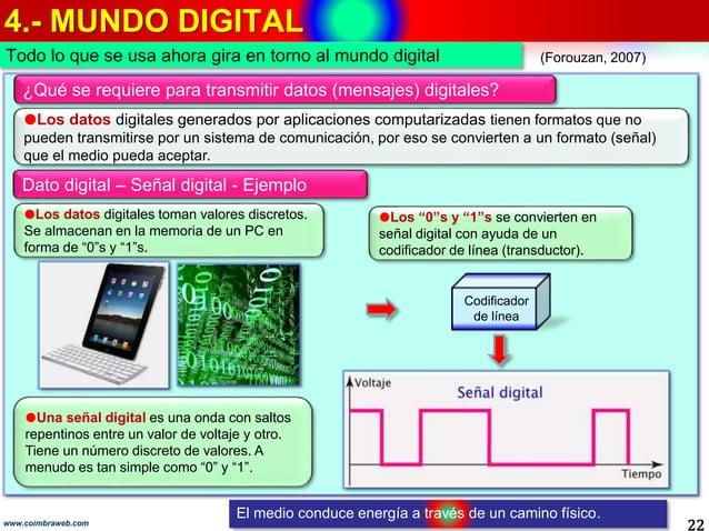 4.- MUNDO DIGITAL 22www.coimbraweb.com Todo lo que se usa ahora gira en torno al mundo digital (Forouzan, 2007) Dato digit...