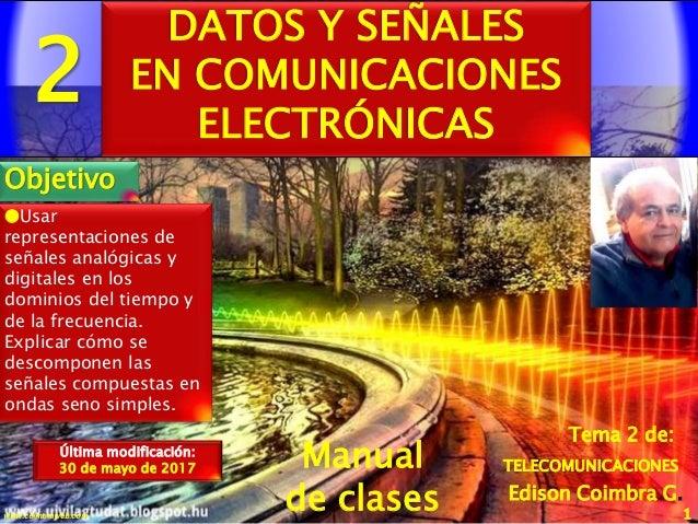 2 1www.coimbraweb.com Edison Coimbra G. Manual de clases Última modificación: 30 de mayo de 2017 Tema 2 de: DATOS Y SEÑALE...