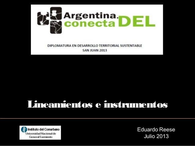 Eduardo Reese Julio 2013 Lineamientos e instrumentos