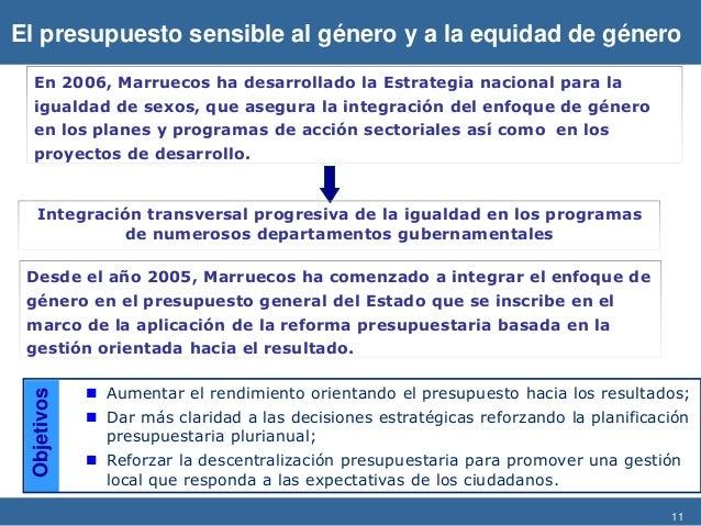 11 El presupuesto sensible al género y a la equidad de género En 2006, Marruecos ha desarrollado la Estrategia nacional pa...