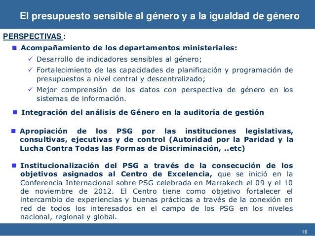 16  Integración del análisis de Género en la auditoría de gestión  Acompañamiento de los departamentos ministeriales:  ...