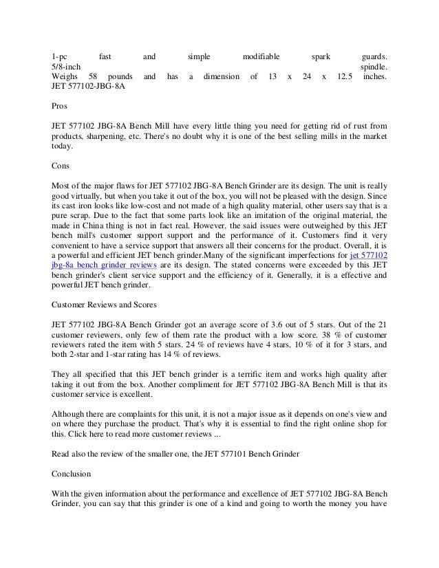 Jet 577102 Jbg 8a Bench Grinder Reviews