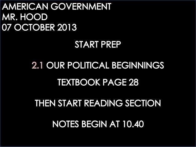 ECOGOV: 2.1 OUR POLITICAL BEGINNINGS