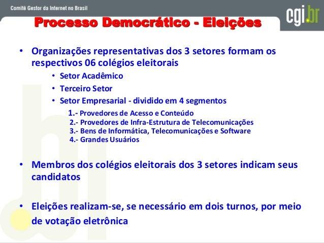 Processo Transparente • Discussão aberta no CGI.br para formular as regras do processo eleitoral • Consultas públicas em v...