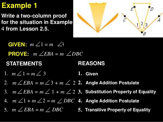 Write angle statements using the addition property of equality
