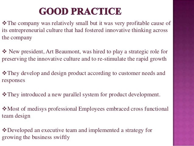 medisys corp the intenscare product de The intenscare product development team order description read the case medisys corp: the intenscare product development team provide a brief assessment of the factors affecting the intenscare team's behavior, culture, and outcomes.
