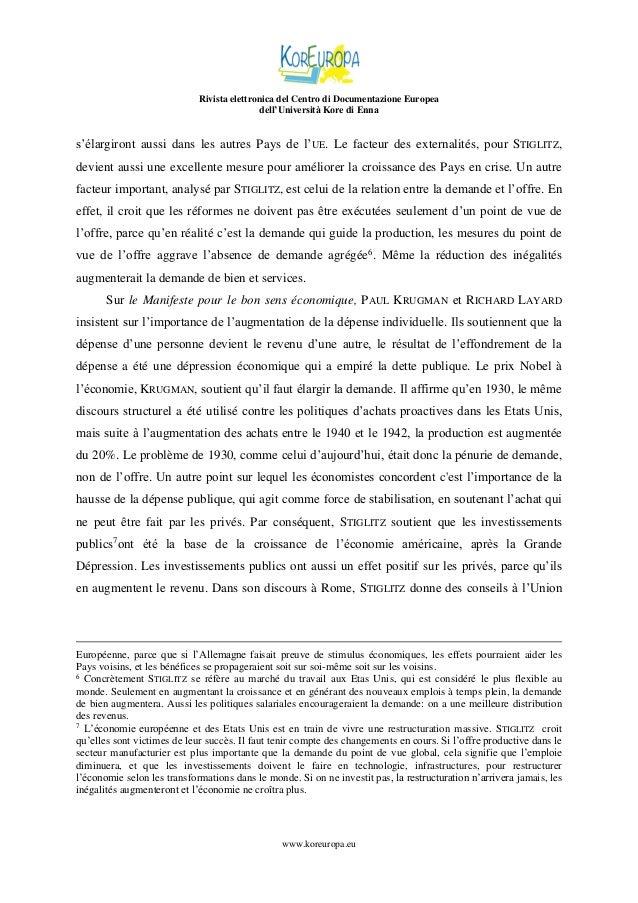 Rivista elettronica del Centro di Documentazione Europea dell'Università Kore di Enna  s'élargiront aussi dans les autres ...