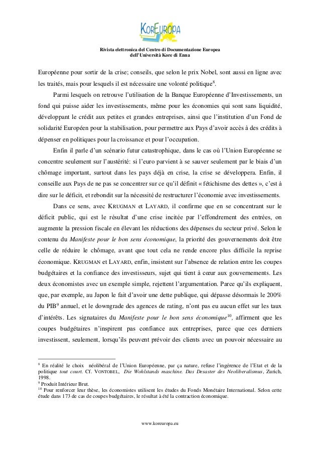 Rivista elettronica del Centro di Documentazione Europea dell'Università Kore di Enna  Européenne pour sortir de la crise;...