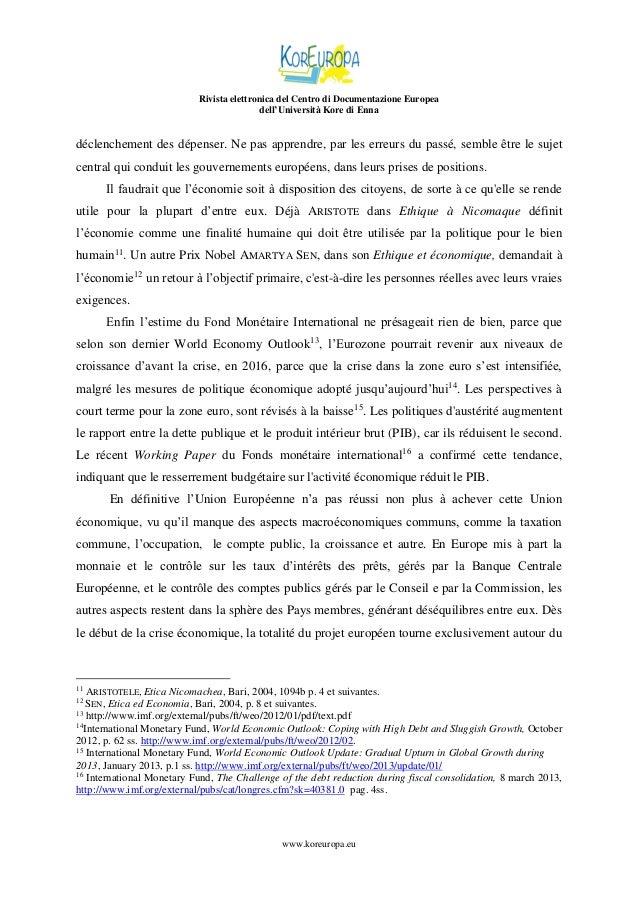 Rivista elettronica del Centro di Documentazione Europea dell'Università Kore di Enna  déclenchement des dépenser. Ne pas ...