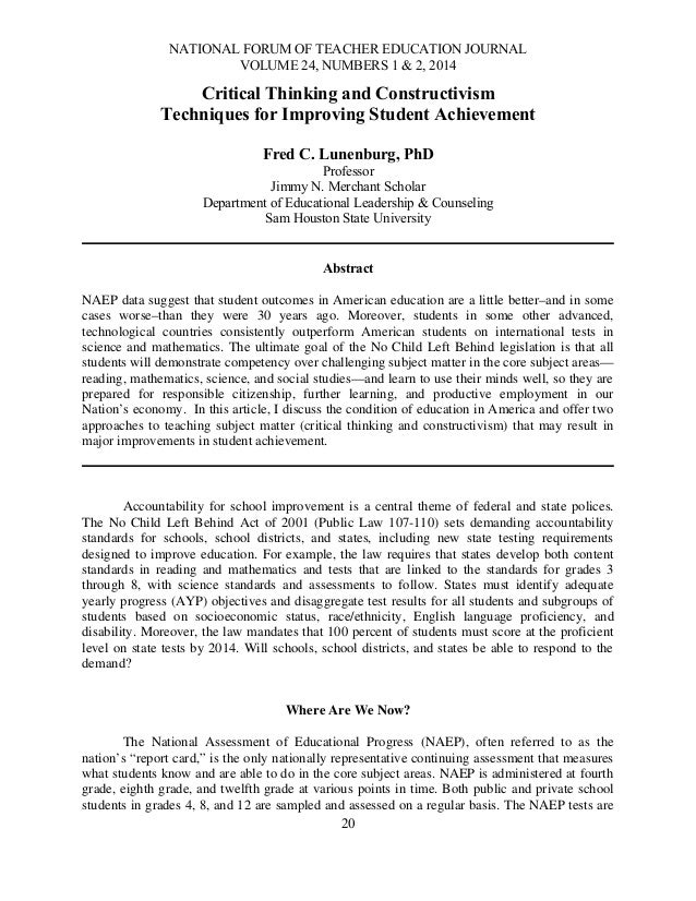 NATIONAL FORUM OF TEACHER EDUCATION JOURNAL VOLUME 24, NUMBERS 1 & 2, 2014  Critical Thinking and Constructivism Technique...