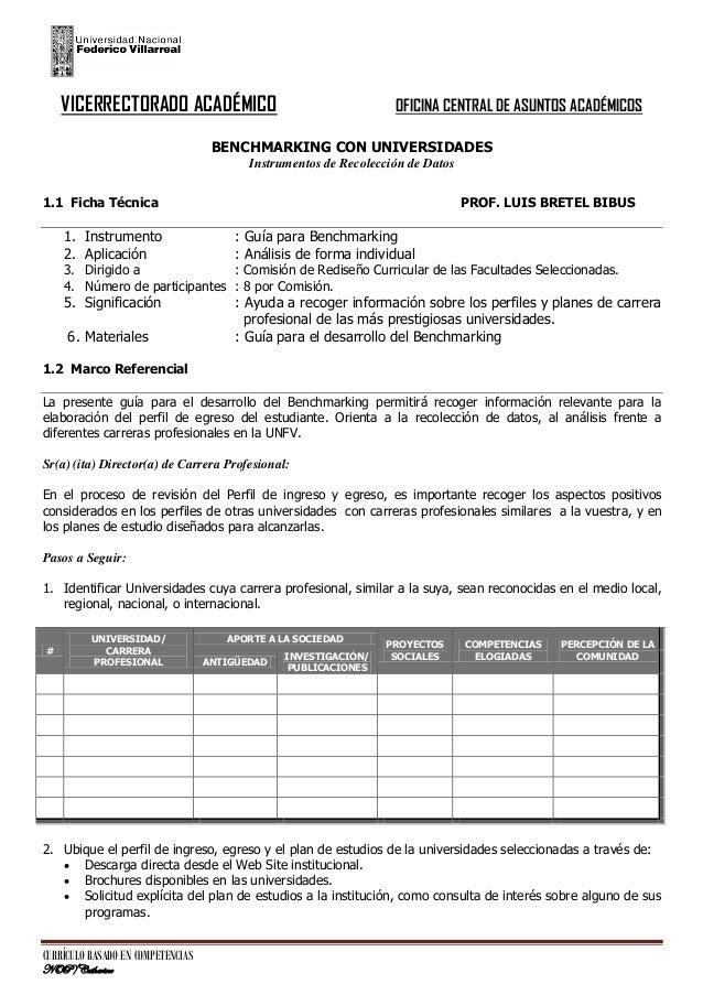VICERRECTORADO ACADÉMICO  OFICINA CENTRAL DE ASUNTOS ACADÉMICOS  BENCHMARKING CON UNIVERSIDADES Instrumentos de Recolecció...
