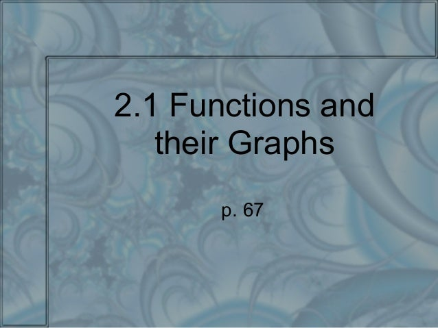 2.1 Functions and their Graphs p. 67