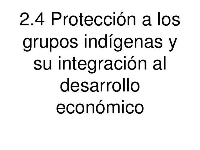 2.4 Protección a los grupos indígenas y su integración al desarrollo económico