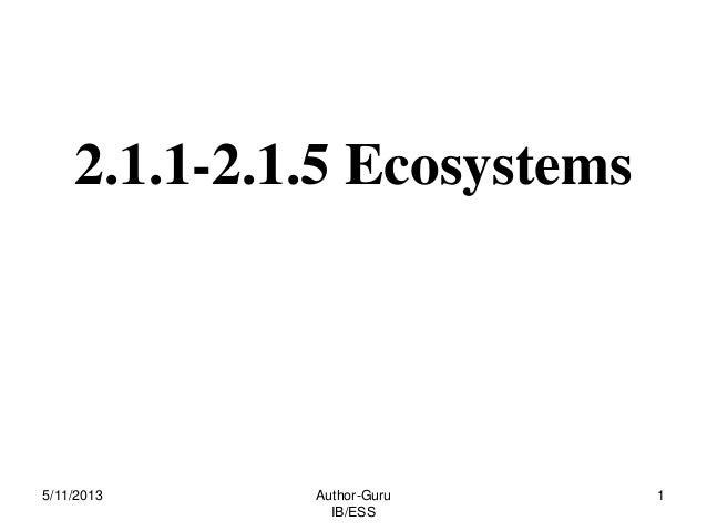 2.1.1-2.1.5 Ecosystems  5/11/2013  Author-Guru IB/ESS  1