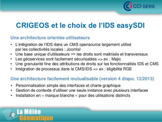 CRIGEOS et le choix de l'IDS easySDI Une architecture orientée utilisateurs•La  Mêlée Géomatique  • L'intégration de l'IDS...