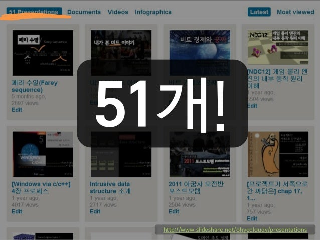 51개! http://www.slideshare.net/ohyecloudy/presentations