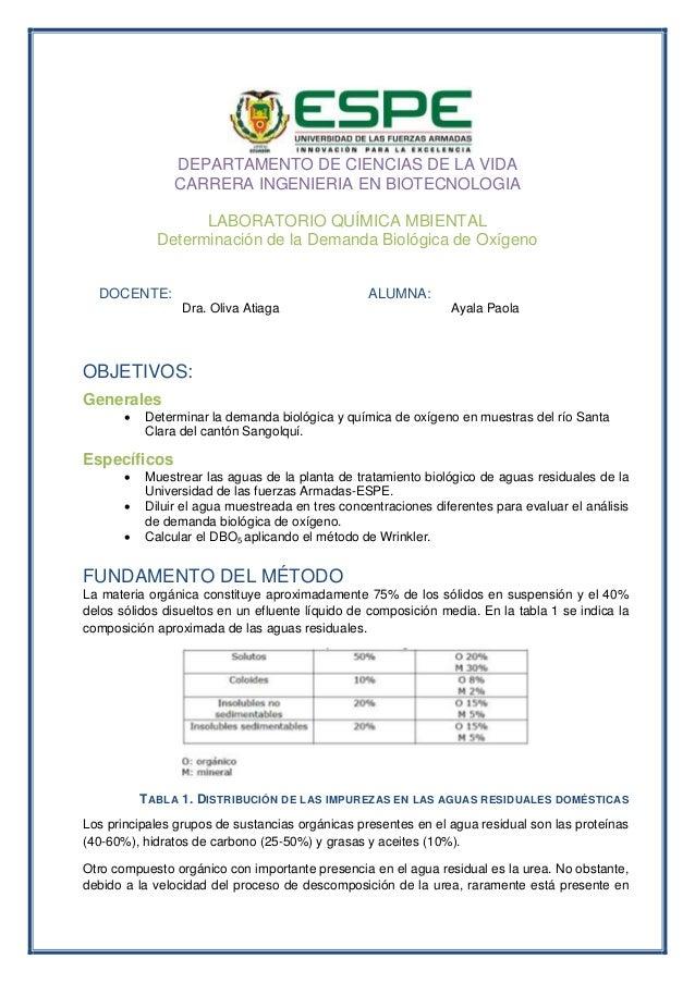 DEPARTAMENTO DE CIENCIAS DE LA VIDA CARRERA INGENIERIA EN BIOTECNOLOGIA LABORATORIO QUÍMICA MBIENTAL Determinación de la D...