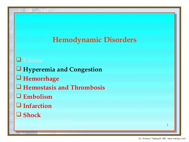 Hemodynamic Disorders Hemodynamic Disorders  Edema  Edema  Hyperemia and Congestion  Hyperemia and Congestion  Hemorr...
