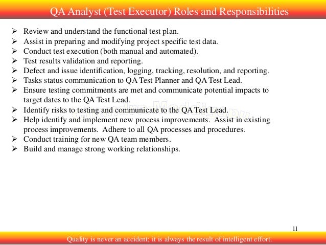 quality analyst roles and responsibilities pdf