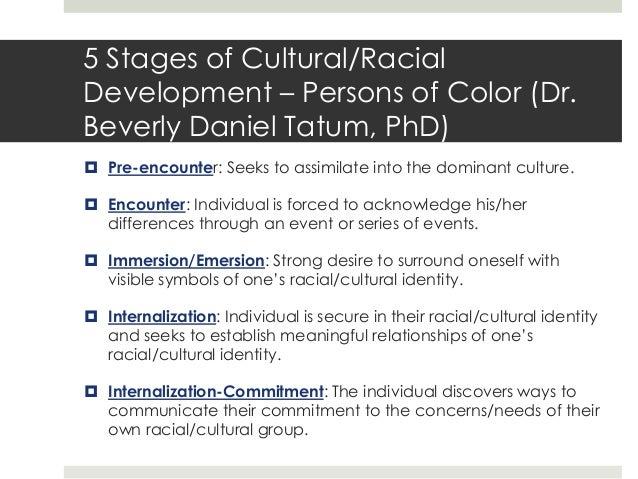 racial identity development model essay Helm's white racial identity development model moves in the direction of the dominant ideology associated with race and one's own socio-racial group identity.