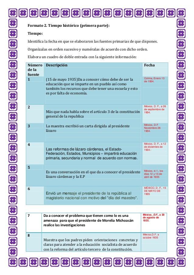 Formato 2. Tiempo histórico (primera parte): Tiempo: Identifica la fecha en que se elaboraron las fuentes primarias de que...