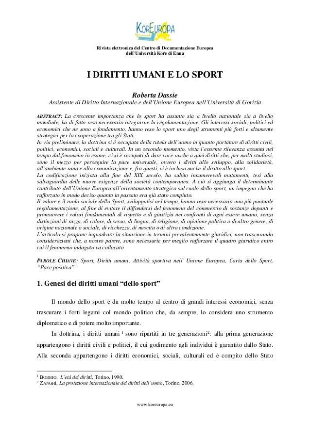 Rivista elettronica del Centro di Documentazione Europea dell'Università Kore di Enna  I DIRITTI UMANI E LO SPORT Roberta ...