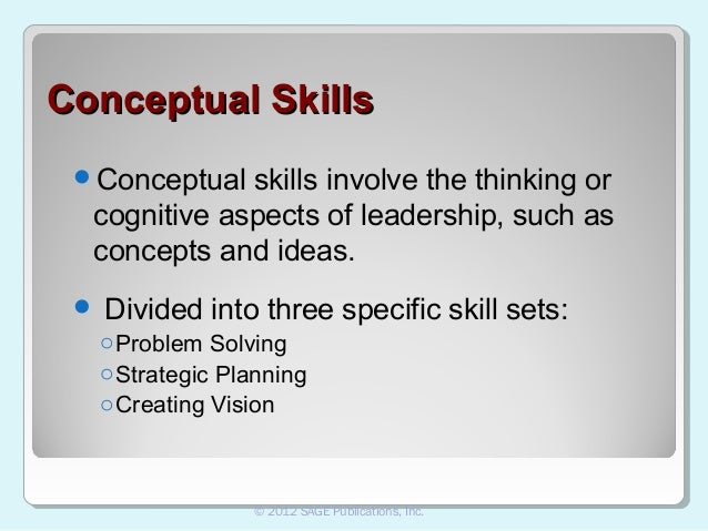 skills management and conceptual skills Zational goals interpersonal skills are required at all three levels of management:  super- visory  conceptual skills allow leaders to give abstract ideas meaning.