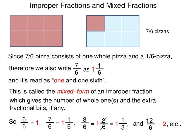 improper fractions and mixed numbers w