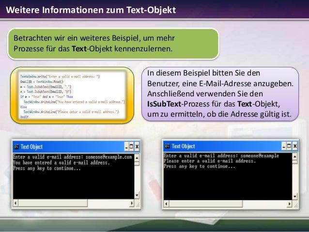 Weitere Informationen zum Text-Objekt Betrachten wir ein weiteres Beispiel, um mehr Prozesse für das Text-Objekt kennenzul...