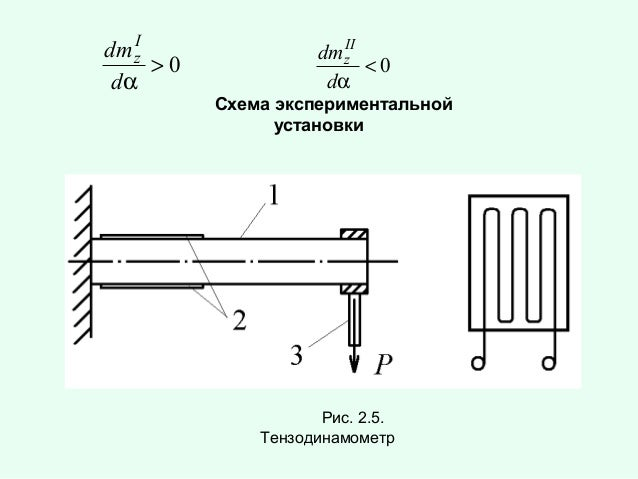 I dm z >0 dα  II dm z <0 dα  Схема экспериментальной установки  Рис. 2.5. Тензодинамометр