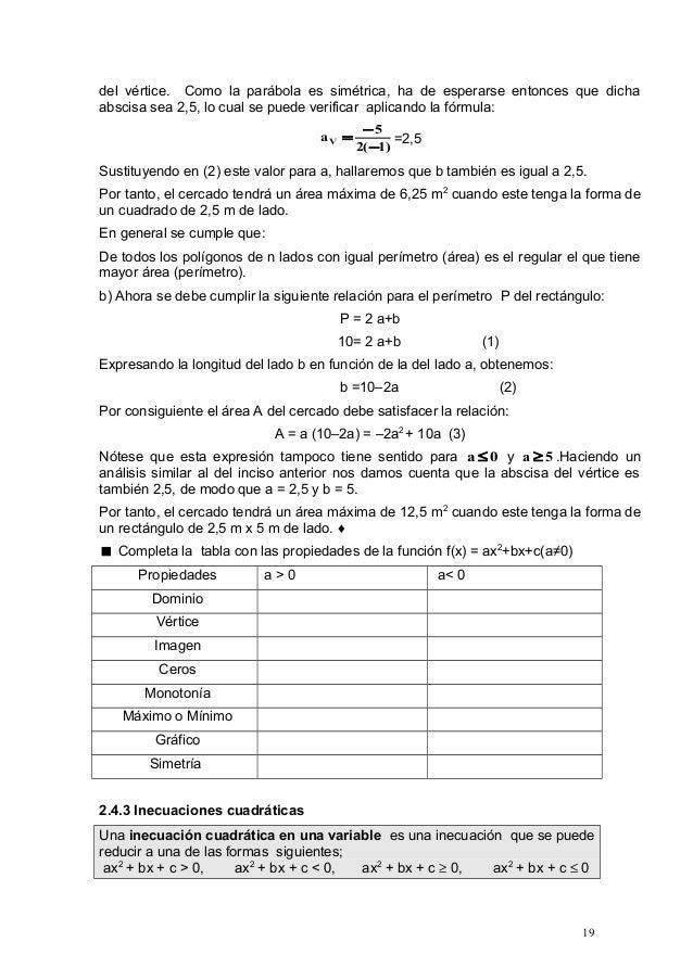 2.4 ecuaciones, funciones e inecuaciones cuadráticas (mayo 0