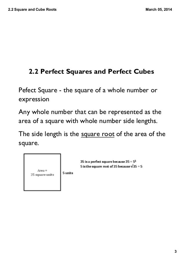 22 Perfect Squares And Cubes And Their Roots