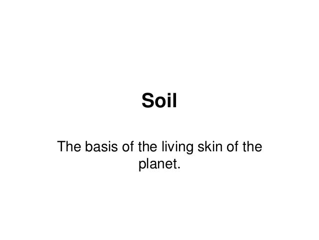 Soil The basis of the living skin of the planet.