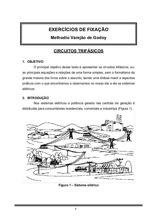1 EXERCÍCIOS DE FIXAÇÃO Methodio Varejão de Godoy CIRCUITOS TRIFÁSICOS 1. OBJETIVO O principal objetivo desse texto é apre...